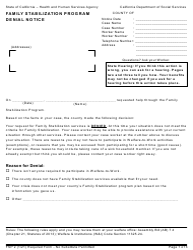"Form FSP2 ""Denial Notice - Family Stabilization Program"" - California"