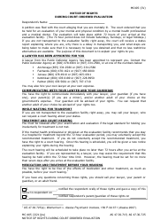 """Form MC-405 """"Notice of Rights During Court-Ordered Evaluation"""" - Alaska"""