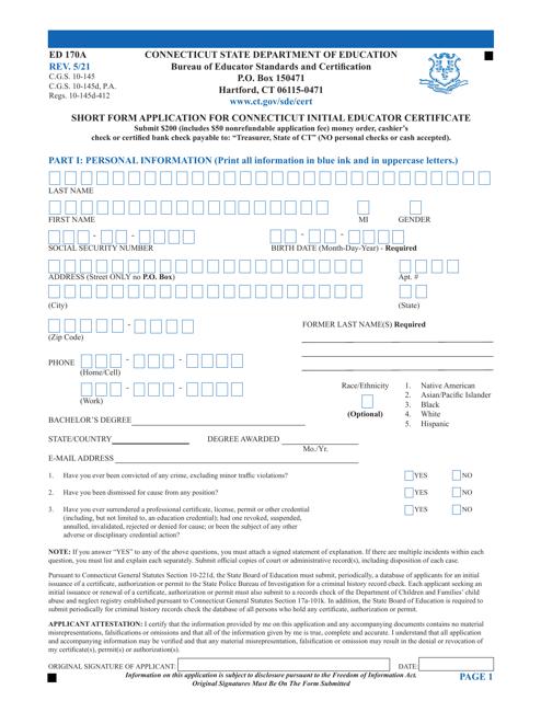 Form ED170A Printable Pdf