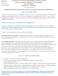 """Form ED170A """"Short Form Application for Connecticut Initial Educator Certificate"""" - Connecticut, Page 3"""