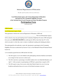 """""""Participation Form - Local Educational Agency and Arizona Department of Education Agreement for the Community Eligibility Provision of the National School Lunch Program and School Breakfast Program"""" - Arizona"""