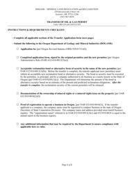 """Transfer of Oil & Gas Permit"" - Oregon"