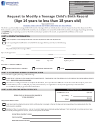 """Form HD002291 """"Request to Modify a Teenage Child's Birth Record (Age 14 Years to Less Than 18 Years Old)"""" - Pennsylvania"""