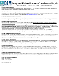 """Sump and Under-Dispenser Containment Repair Application"" - Rhode Island"