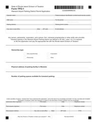 "Form TPO-1 ""Warwick Airport Parking District Permit Application"" - Rhode Island"