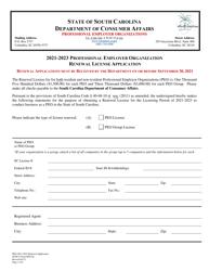 "SCDCA Form PEO-02 ""Professional Employer Organization Renewal License Application"" - South Carolina, 2023"