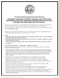"""DSS Form 3800 """"Temporary Assistance for Needy Families (TANF) Application/Supplemental Nutrition Assistance Program (Snap) Application/Refugee Cash Assistance (Rca) Application"""" - South Carolina"""