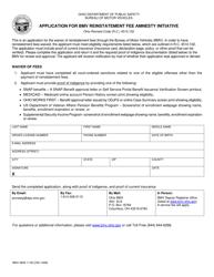 "Form BMV2829 ""Application for Bmv Reinstatement Fee Amnesty Initiative"" - Ohio"