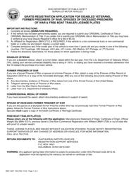 """Form BMV4507 """"Gratis Registration Application for Disabled Veterans, Former Prisoners of War, Spouses of Deceased Prisoners of War & Free Boat Trailer License Plates"""" - Ohio"""
