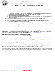 """Form BMV4531 """"Application for Removable Windshield Placard for Active Duty Military/Veterans With Disabilities"""" - Ohio"""