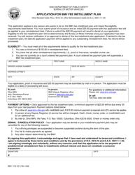 """Form BMV1152 """"Application for Bmv Fee Installment Plan"""" - Ohio"""