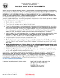 "Form BMV4853 ""Historical '""model Year'"" License Plate Affidavit"" - Ohio"