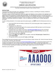 "Form BMV4813 ""Company Logo Application"" - Ohio"