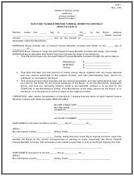 """Form IRR-1 """"Election to Make Prepaid Funeral Benefits Contract Irrevocable"""" - Oklahoma"""