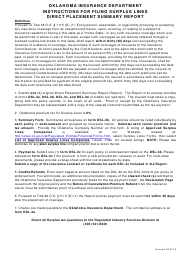 """Instructions for Form DSL-3A """"Surplus Lines Insurance Direct Placement Summary Report"""" - Oklahoma"""