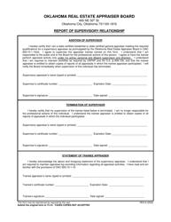 "Form REA-8 ""Report of Supervisory Relationship"" - Oklahoma"