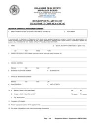 "Form REA-AMC-03 ""Biographical Affidavit to Support Form Rea-AMC-02"" - Oklahoma"