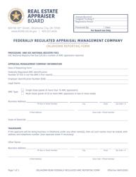 """Oklahoma Reporting Form - Federally Regulated Appraisal Management Company"" - Oklahoma"