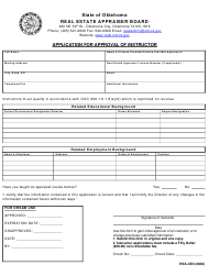 """Form REA-CE3 """"Application for Approval of Instructor"""" - Oklahoma"""