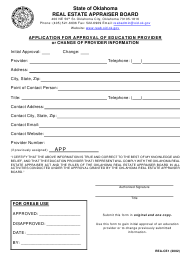 """Form REA-CE1 """"Application for Approval of Education Provider or Change of Provider Information"""" - Oklahoma"""