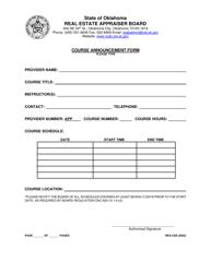 """Form REA-CE9 """"Course Announcement Form"""" - Oklahoma"""