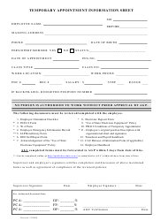 """""""Temporary Appointment Information Sheet"""" - Oregon"""