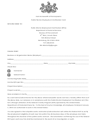 """Public Works Employment Verification Form"" - Pennsylvania"