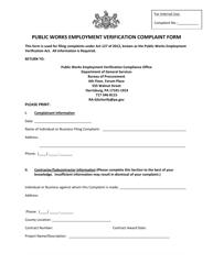 """""""Public Works Employment Verification Complaint Form"""" - Pennsylvania"""