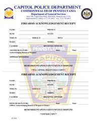 """Firearms Acknowledgement Receipt"" - Pennsylvania"