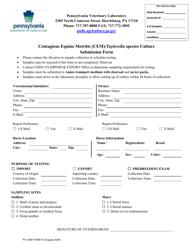 "PV CEM Form 01 ""Contagious Equine Metritis (Cem)/Taylorella Species Culture Submission Form"" - Pennsylvania"