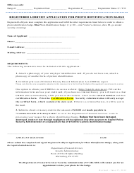"""Registered Lobbyist Application for Photo Identification Badge"" - Pennsylvania"