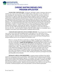 """Chronic Wasting Disease (Cwd) Program Application"" - Pennsylvania"