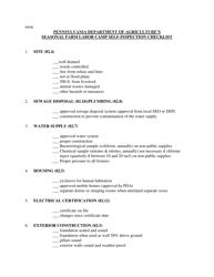 """Seasonal Farm Labor Camp Self-inspection Checklist"" - Pennsylvania"