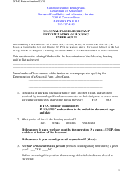 """Seasonal Farm Labor Camp Determination of Housing Under Act 93"" - Pennsylvania"