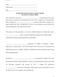"""Agreement for Single Family Home Seasonal Farm Labor"" - Pennsylvania"
