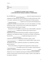 """""""Acuerdo De Vivienda Para Familias Campamentos De Trabajo Agricola Temporario"""" - Pennsylvania (Spanish)"""