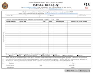 "Form F15 ""Individual Training Log"" - Oregon"