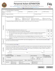 """Form F4S """"Personnel Action - Separation"""" - Oregon"""