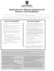 """Form PA600 WD (AS) """"Application for Medical Assistance for Workers With Disabilities"""" - Pennsylvania"""