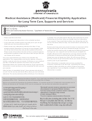 """Form PA600 L """"Medical Assistance (Medicaid) Financial Eligibility Application for Long Term Care, Supports and Services"""" - Pennsylvania"""