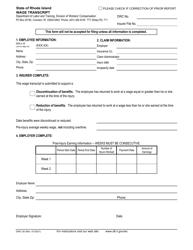 "Form DWC-30 ""Wage Transcript"" - Rhode Island"