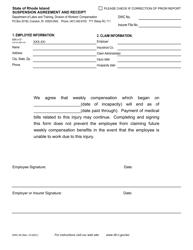 "Form DWC-05 ""Suspension Agreement and Receipt"" - Rhode Island"