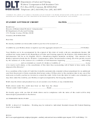 """Form RI SI-6 """"Standby Letter of Credit"""" - Rhode Island"""