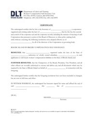 """Form RI SI-9 """"Certificate"""" - Rhode Island"""