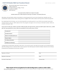 """Form CCAP-350 """"Family Child Care Vacation closure"""" - Rhode Island"""