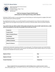 "Form CCAP-351 ""Absent Notice"" - Rhode Island"