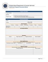 """Child Care Program Personnel Sheet"" - Rhode Island"