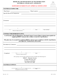"""Form AO1-370 """"Suspension of Ridot Plant Approval Notification"""" - Rhode Island"""