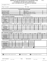 """Form AO1-333 """"Iast Concrete Plant Technician Report"""" - Rhode Island"""