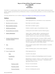 """Instructions for Form GCR-1 """"Report of Federal/Other Financial Assistance (Over $200,000)"""" - South Carolina"""